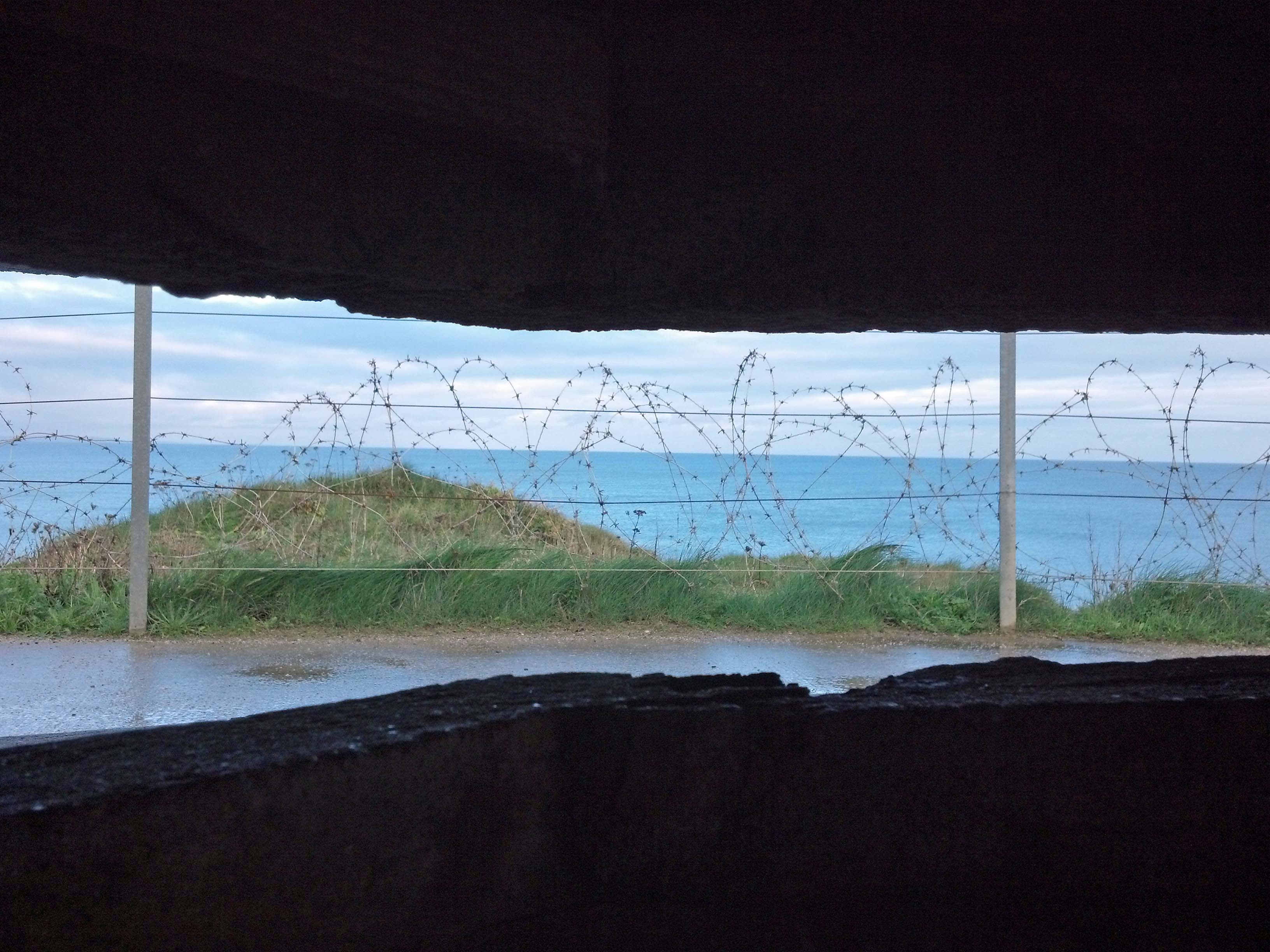 looking out the bunker