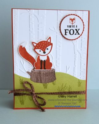 Created by Ginny Harrell using foxy Friends by Stampin' Up! Ginny Harrell @ Celebrate-the-journey.com #stampn' up! #2018 Occasions Catalog #animal cards
