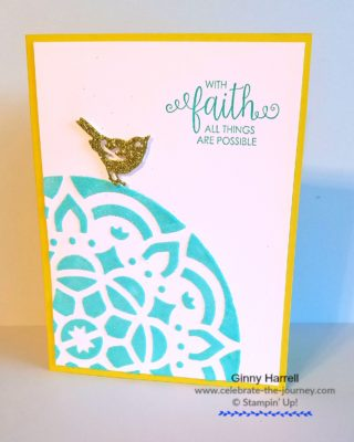 top of the world card Created by Ginny Harrell using embossing paste by Stampin' Up! Ginny Harrell @ Celebrate-the-journey.com #stampn' up! #2018 Occasions Catalog